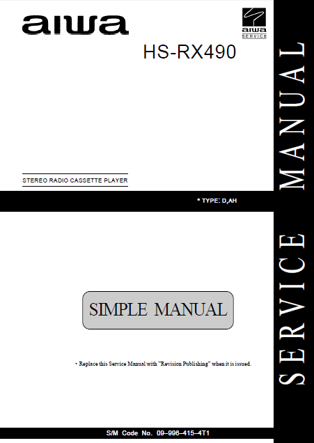 AIWA HS-RX490 Simple Stereo Radio Cassette Player Service Manual