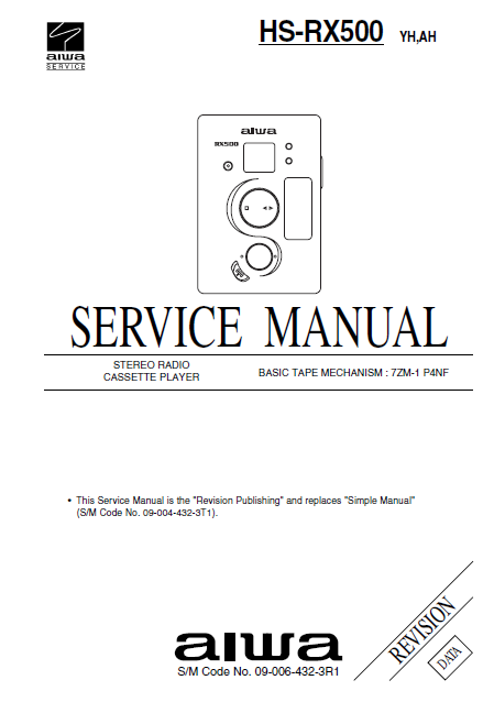 AIWA HS-RX500 Revision Stereo Radio Cassette Player Service Manual