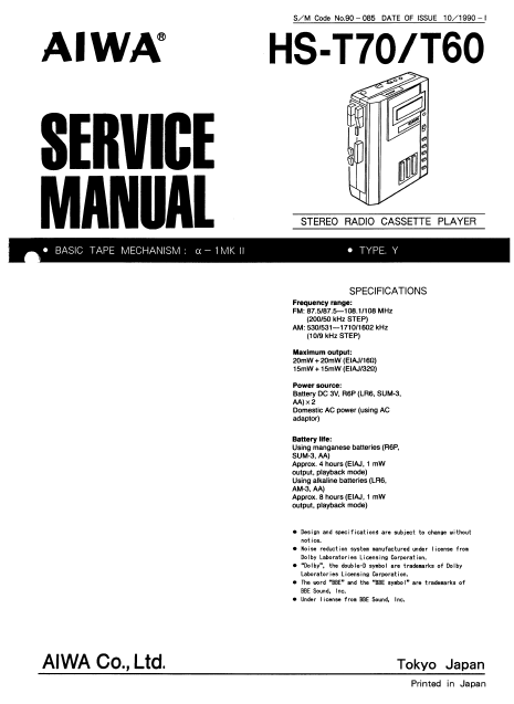 AIWA HS-T60 AM FM Stereo Radio Cassette Player Service Manual
