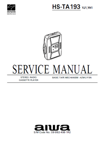 AIWA HS-TA193 Stereo Radio Cassette Player Service Manual