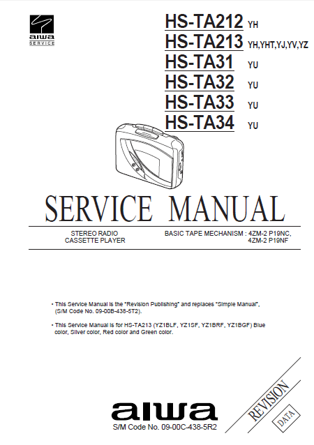 AIWA HS-TA212 Revision Stereo Radio Cassette Player Service Manual