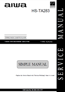 AIWA HS-TA283 Simple Stereo Radio Cassette Player Service Manual