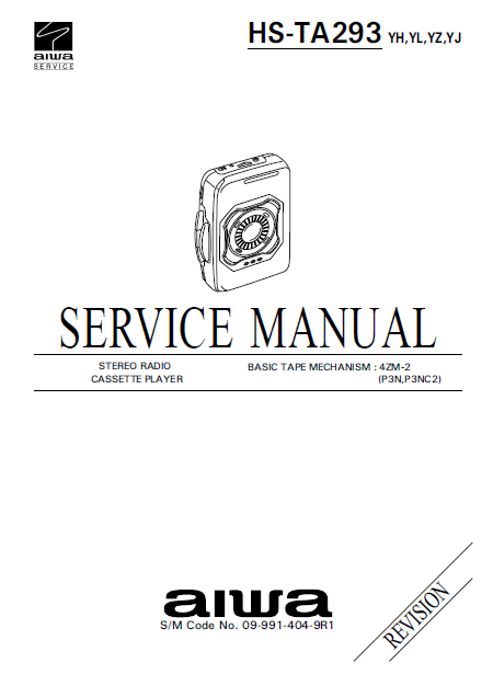 AIWA HS-TA293 Revision Stereo Radio Cassette Player Service Manual