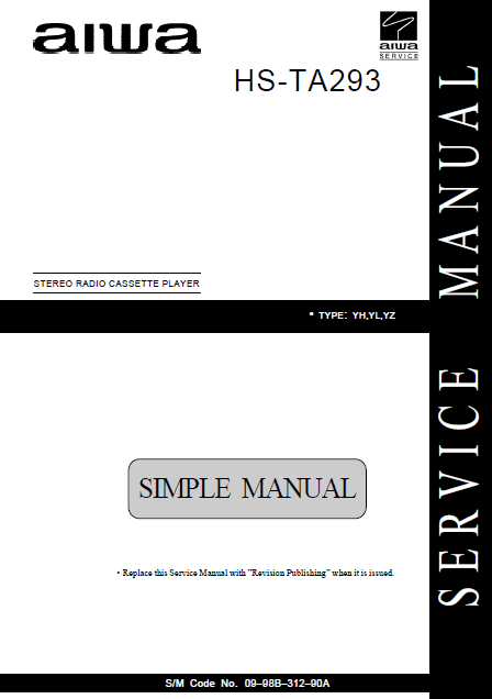 AIWA HS-TA293 Simple Stereo Radio Cassette Player Service Manual