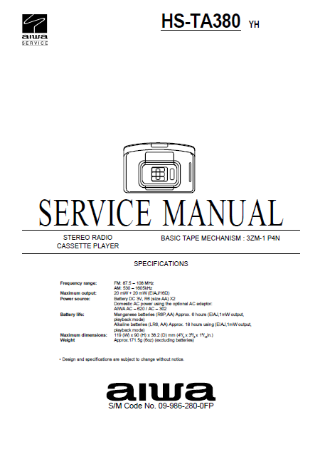 AIWA HS-TA380 YH Stereo Radio Cassette Player Service Manual