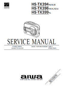AIWA HS-TX394 Revision Stereo Radio Cassette Player Service Manual