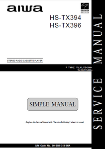 AIWA HS-TX394 Simple Stereo Radio Cassette Player Service Manual