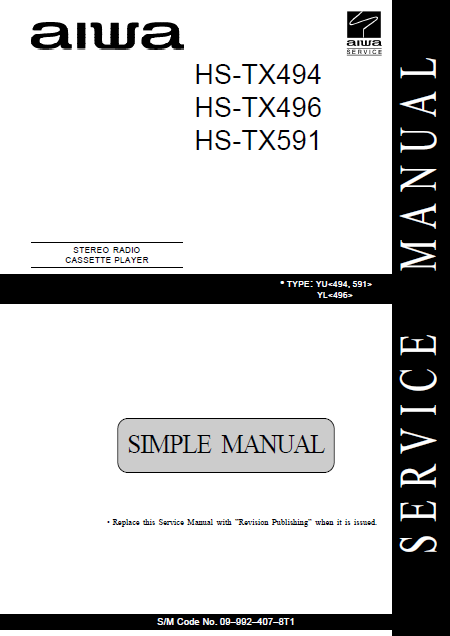AIWA HS-TX494 Simple Stereo Radio Cassette Player Service Manual