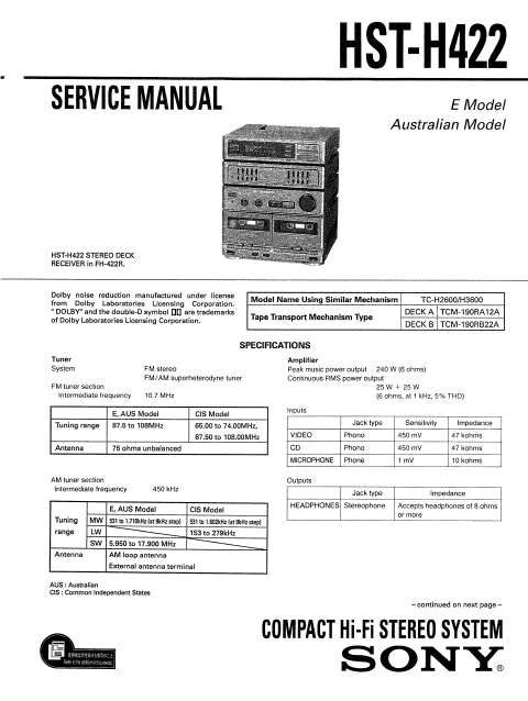 AIWA HST-H422 SONY Stereo Deck Receiver Service Manual