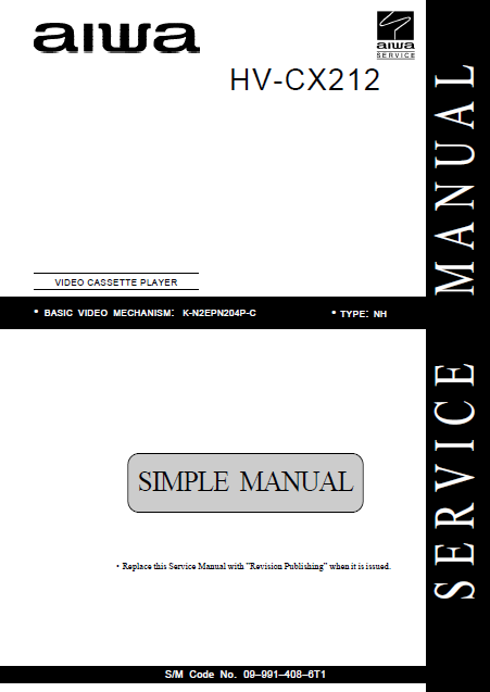 AIWA HV-CX212 Simple Video Cassette Player Service Manual