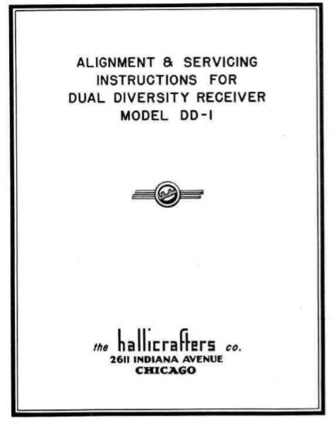 Hallicrafters Model DD-1 Dual Diversity Receiver Service Manual