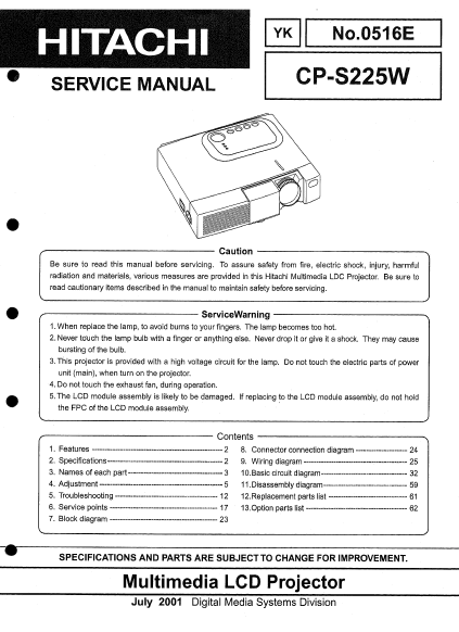 HITACHI CP-S225W YK Multimedia LCD Projector Service Manual