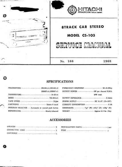 HITACHI CS-103 8Track Car Stereo Service Manual
