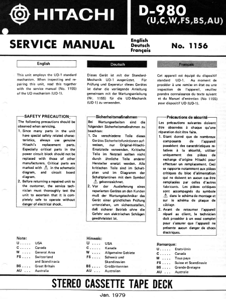 HITACHI D-980 Stereo Cassette Tape Deck Service Manual