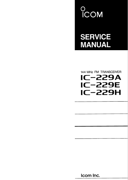 ICOM IC-229A FM Transceiver Maintenance Manual