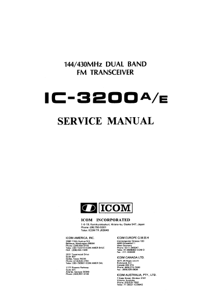 ICOM IC-3200A Dual Band FM Transceiver Service Manual