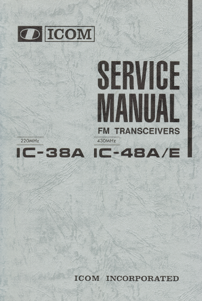 ICOM IC-38A FM Transceiver Service Manual