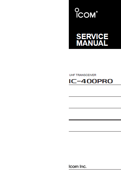 ICOM IC-400PRO UHF Transceiver Service Manual