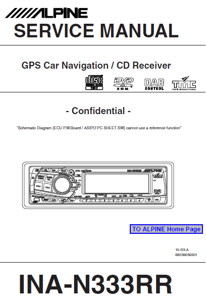 ALPINE INA-N333RR CD Receiver Confidential Service Manual