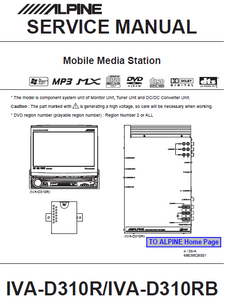 ALPINE IVA D310R-D310RB Mobile Media Station Service Manual