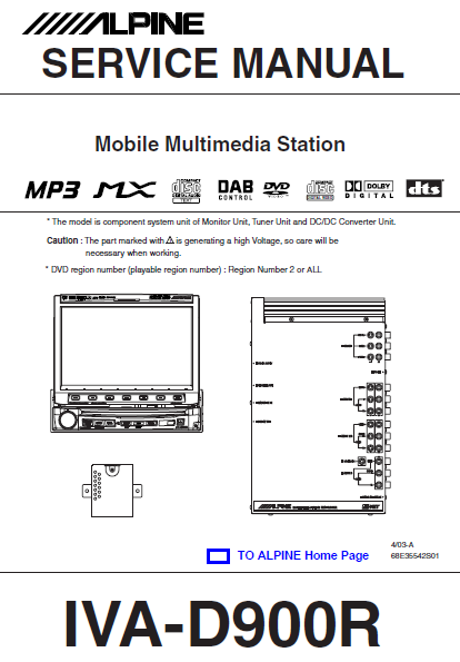 ALPINE IVA-D900R Mobile Multi Media Station Service Manual