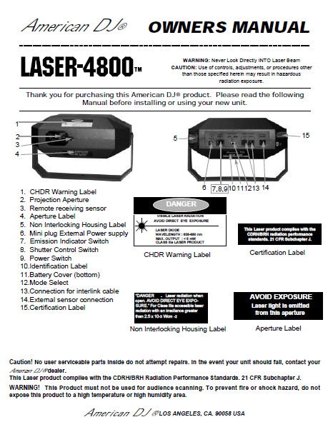 AMC LASER-4800 American DJ Owner's Manual