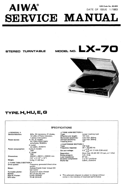AIWA LX-70 Stereo Turntable Service Manual
