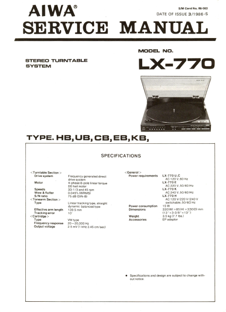 AIWA LX-770 Stereo Turntable Service Manual