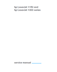 Hewlett Packard LaserJet 1150-1300 series Service Manual