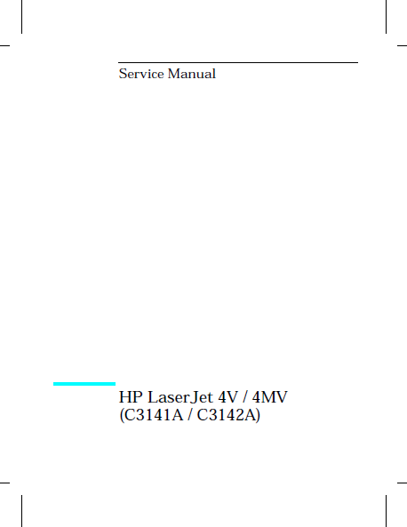 Hewlett Packard LaserJet 4V-4MV Service Manual
