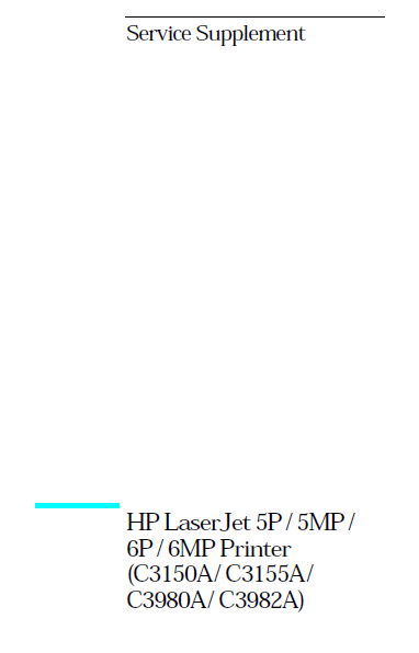 Hewlett Packard LaserJet 5P-5MP Printer Service Manual