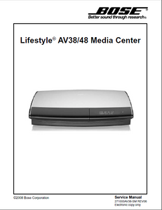 BOSE Lifestyle AV38 AV48 Media Center Service Manual