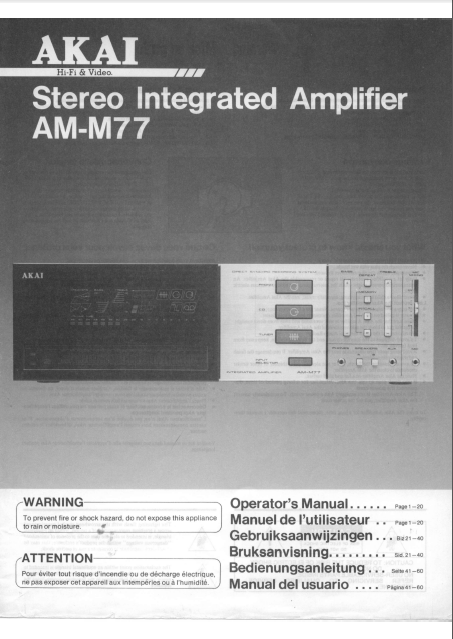 AKAI AM-M-77 Stereo Integrated Amplifier Operator's Manual