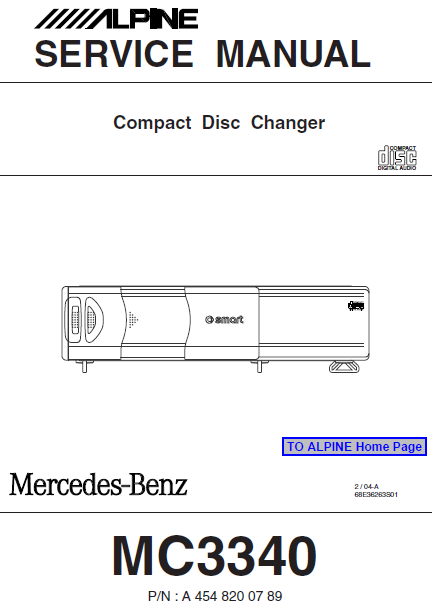 ALPINE MC3340 Compact Disc Changer Service Manual