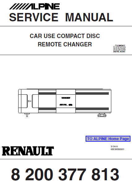 ALPINE Car Use CD Remote Changer Renault Service Manual
