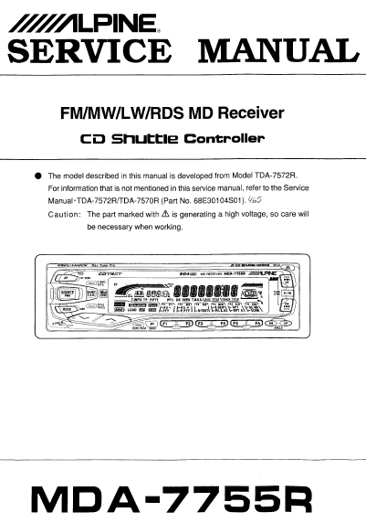 ALPINE MDA-7755R Receiver CD Shuttle Controller Service Manual