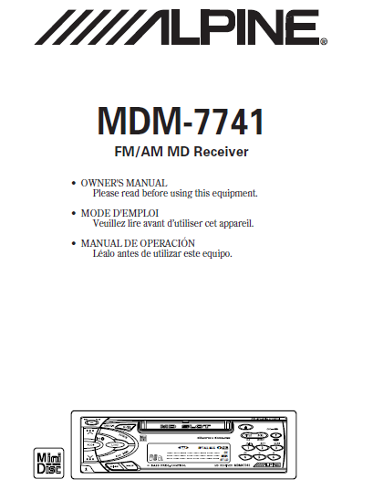 ALPINE MDM-7741 FM AM MD Receiver Service Manual