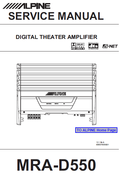 ALPINE MRA-D550 Digital Theater Amplifier Service Manual
