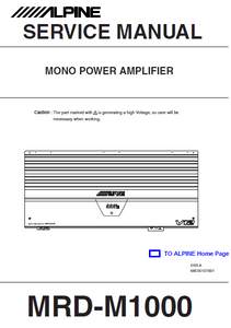 ALPINE MRD-M1000 Mono Power Amplifier Service Manual