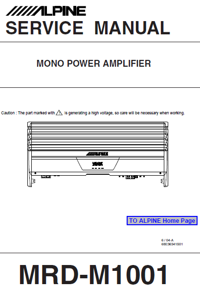 ALPINE MRD-M1001 Mono Power Amplifier Service Manual