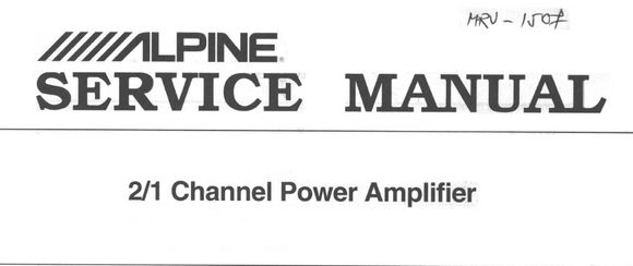 ALPINE MRV-1507 Channel Power Amplifier Service Manual