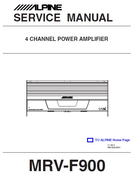 ALPINE MRV-F900 4Channel Power Amplifier Service Manual
