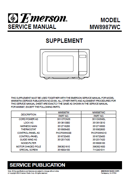 Emerson MW8987WC Supplement Service Manual