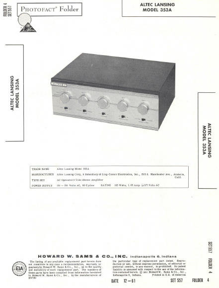 ALTEC LANSING 353A Photofact Transformer Schematics