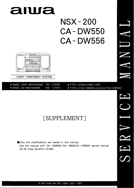 AIWA NSX-200 Supplement Carry Component System Schematics