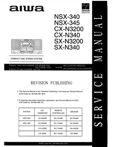 AIWA NSX-340 Compact Disc Stereo Service Manual