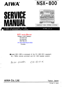 AIWA NSX-800 Compact Disc Stereo Service Manual