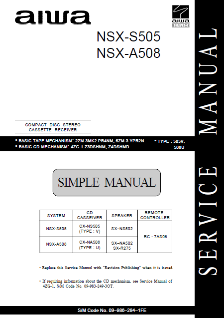 AIWA NSX-A505 Simple CD Stereo Cassette Receiver Service Manual