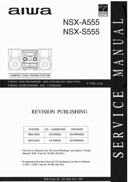AIWA NSX A555-S555 Revision CD Stereo System Service Manual