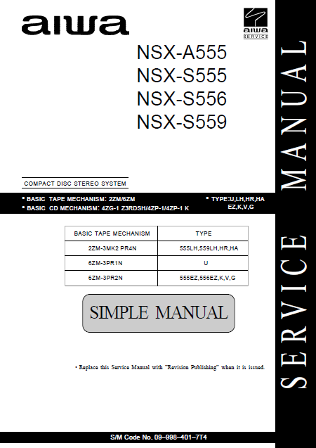 AIWA NSX-A555 Simple CD Stereo System Service Manual